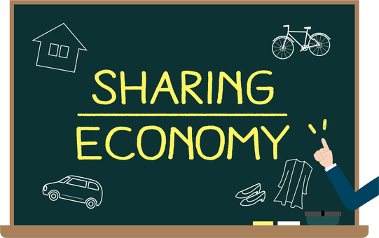 Blackboard image of sharing economy