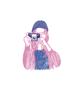 Female illustration taking a picture