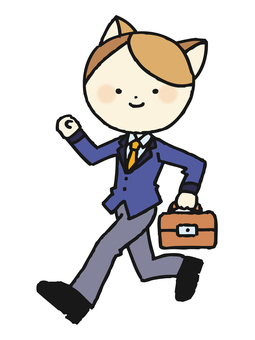 Walking cats businessman