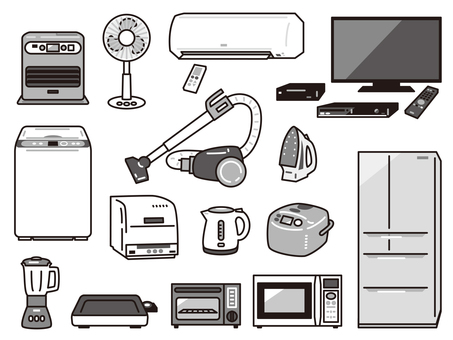 Home appliance set 01 black and white