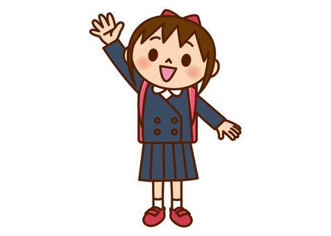 舉手的女孩(制服)