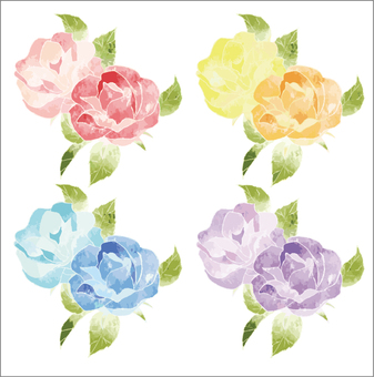 Rose set watercolor ver