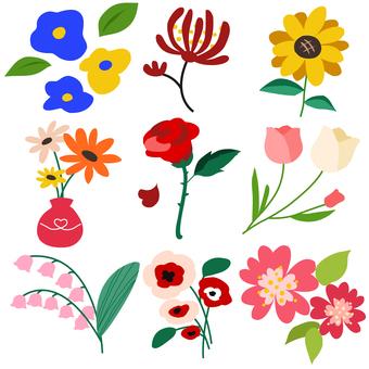 Flower material set flower icon