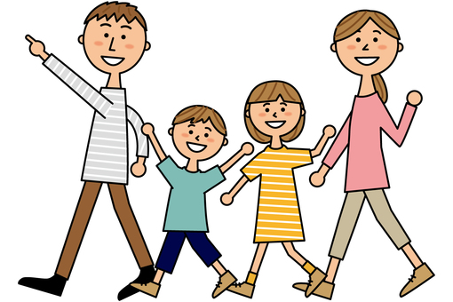 4 walking families
