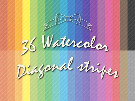 Material pattern watercolor diagonal stripes set
