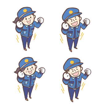 Male and female security guards_guts pose <set>