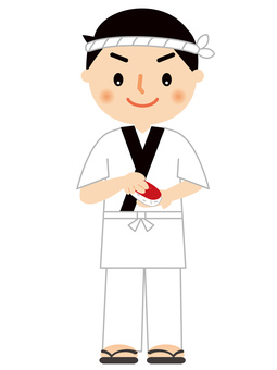 Sushi craftsman full body illustration