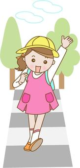Walking crosswalk elementary school student