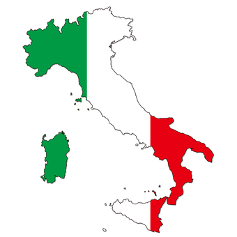 Italy map flag style