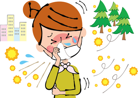 Woman wiping runny nose with hay fever mask tissue
