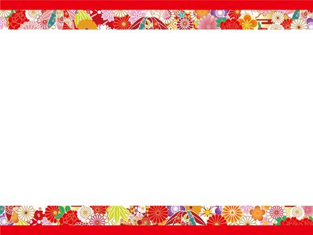 Japanese pattern frame (red)