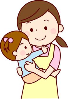 Child nurse holding a child