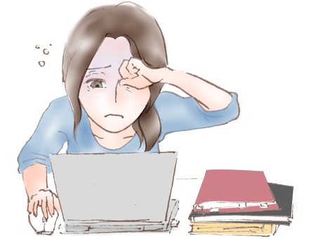 Sleep deprivation in desk work Blue