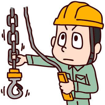Illustration of a worker manipulating a crane