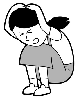 Crouching, girl protecting arm with arms