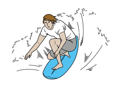 서핑을하는 청년