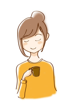 A woman enjoying coffee