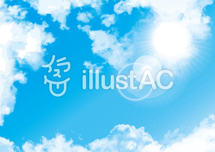 イラスト青空背景背景シンプル白雲太陽快晴