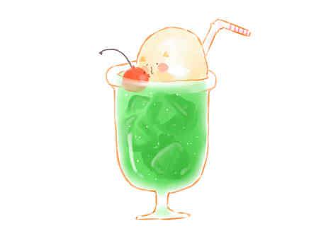 Melon soda float