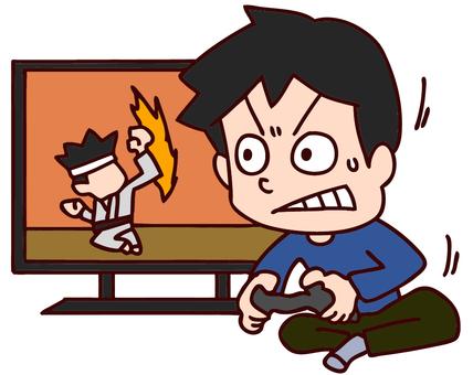Illustration of men crazy about video games