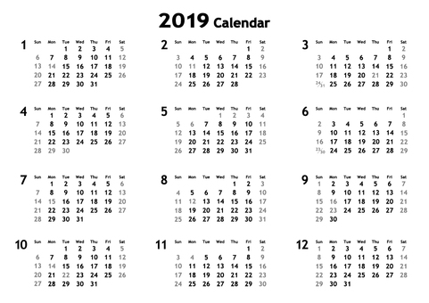 2019 simple calendar (monochrome)