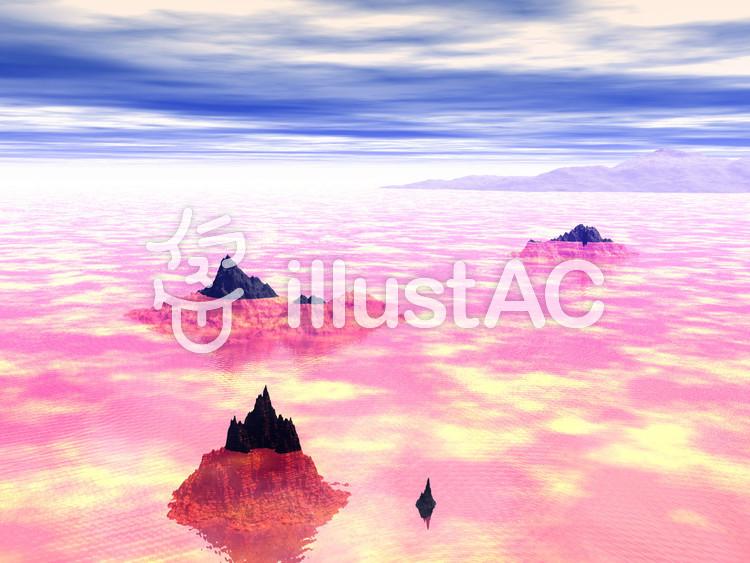 紅い雲に覆われた水平線のイラスト