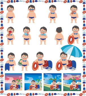 水泳男子セット(七三分け)