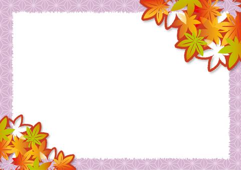 紅葉の切り絵風フレーム_B02
