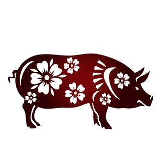 花模様の春節豚