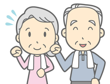 Cặp vợ chồng người cao tuổi - đi bộ - ngực