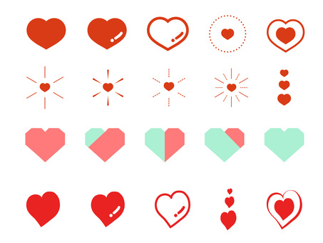 Heart illustration material set