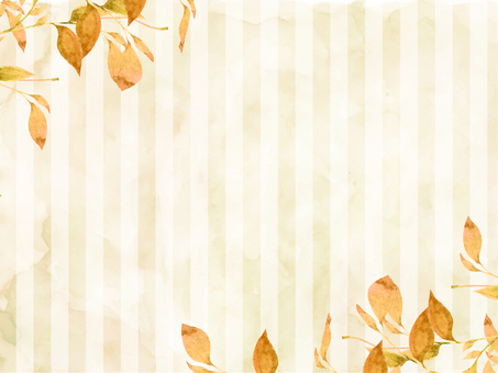 Watercolor hand-painted autumn leaves and beige stripes