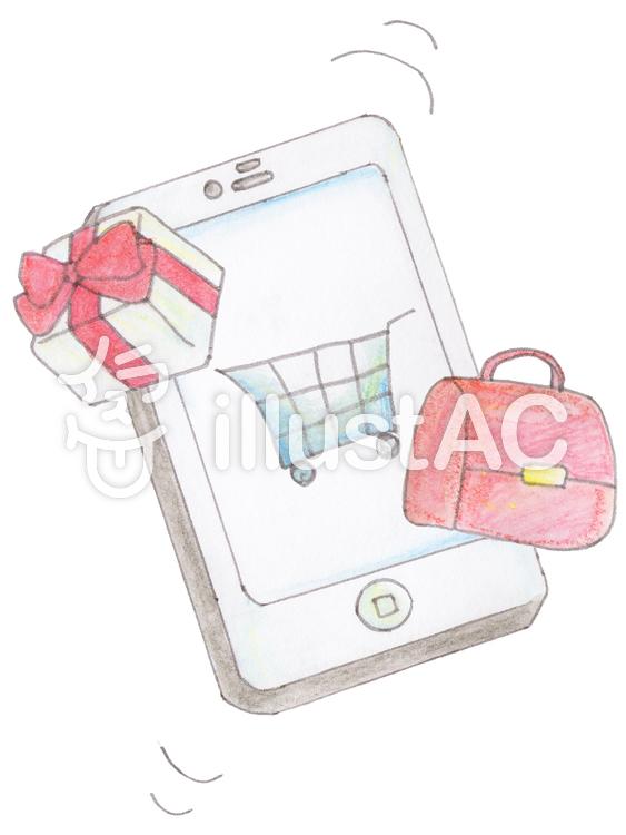 携帯電話で買物のイラスト