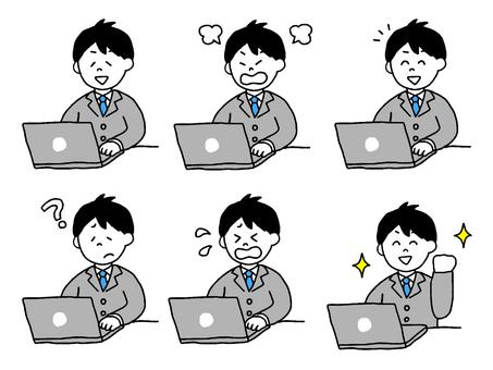 在個人計算機上工作的上班族(簡單)