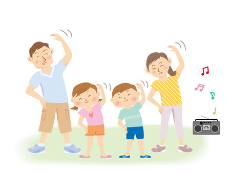 Radio gymnastics _ parent and child