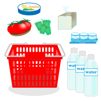 Shopping basket, mineral water, cheese