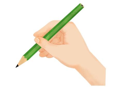 연필을 가진 손