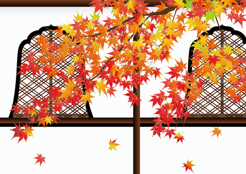 Autumn leaves _ fireplace window garden