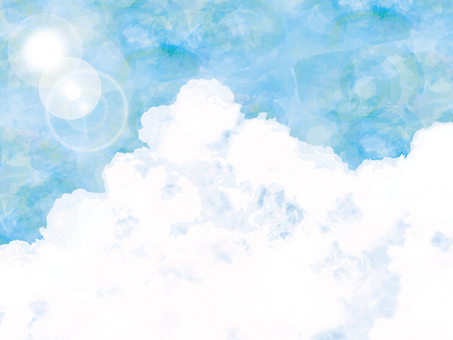 Background blue sky summer sky watercolor texture thundercloud wallpaper sun