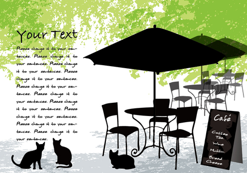 Fresh green cafe 3 Message card black cat