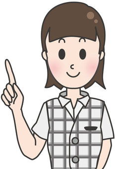 Office worker woman in summer clothes-pointing