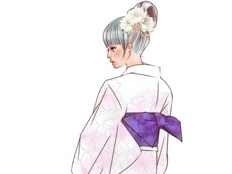 浴衣(百合)
