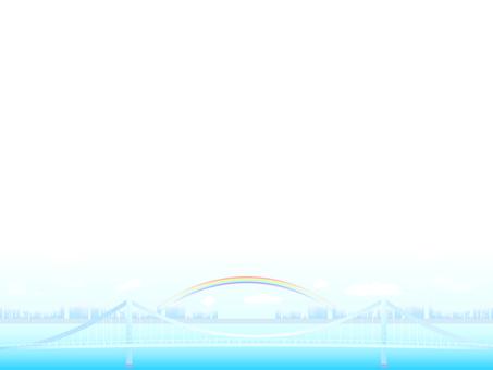 ai urban suspension bridge and rainbow background · wallpaper frame