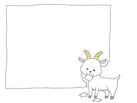 Hand-drawn-style goat frame (color)