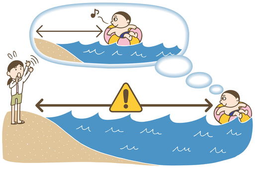Attention points of sea bathing illustration color version