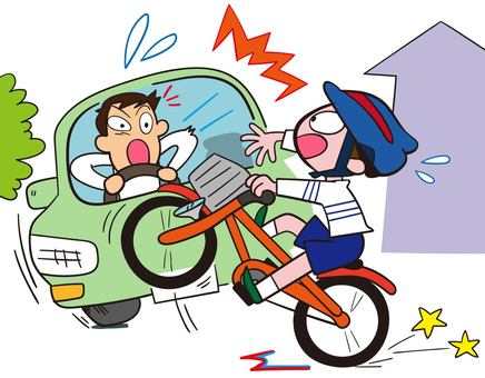 Traffic accident with child's bicycle