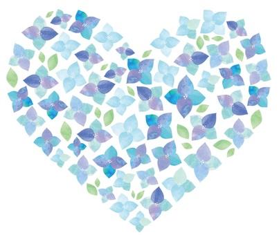 Watercolor hydrangea 8 heart