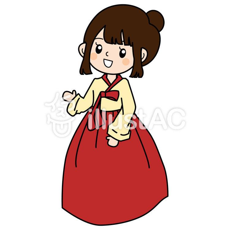 民族衣装チマチョゴリ姿の女の子イラスト No 871281無料イラスト