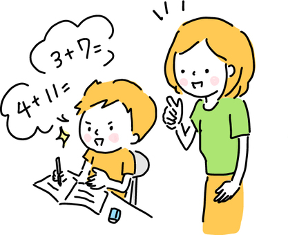 宿題をしている子供と教える母親