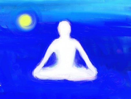瞑想するシルエット